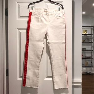 White Jeans with Red Stripe
